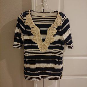 J Crew Embroidered V Neck Top Shirt Blouse Small